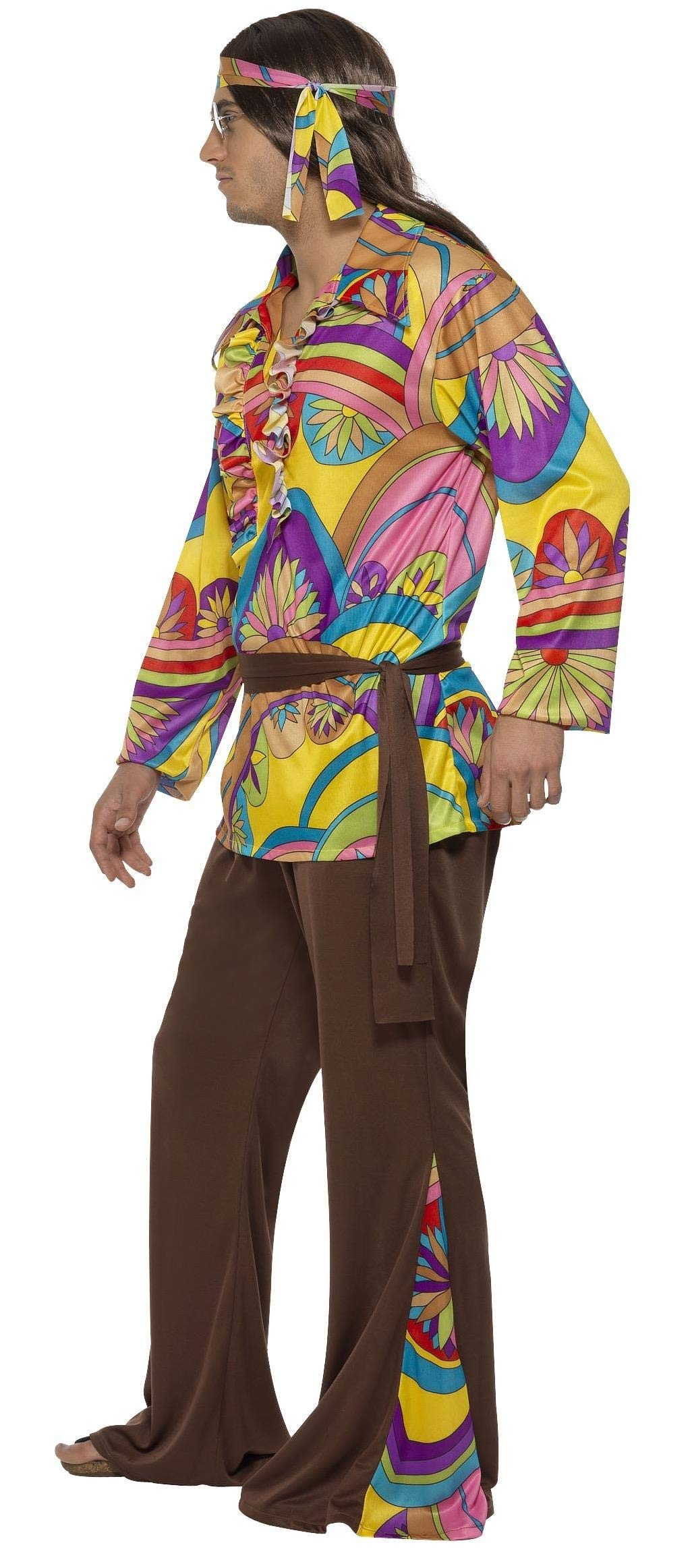 Smiffy/'s Men/'s Psychedelic Hippie Man Costume pants Shirt Headband and Belt 60