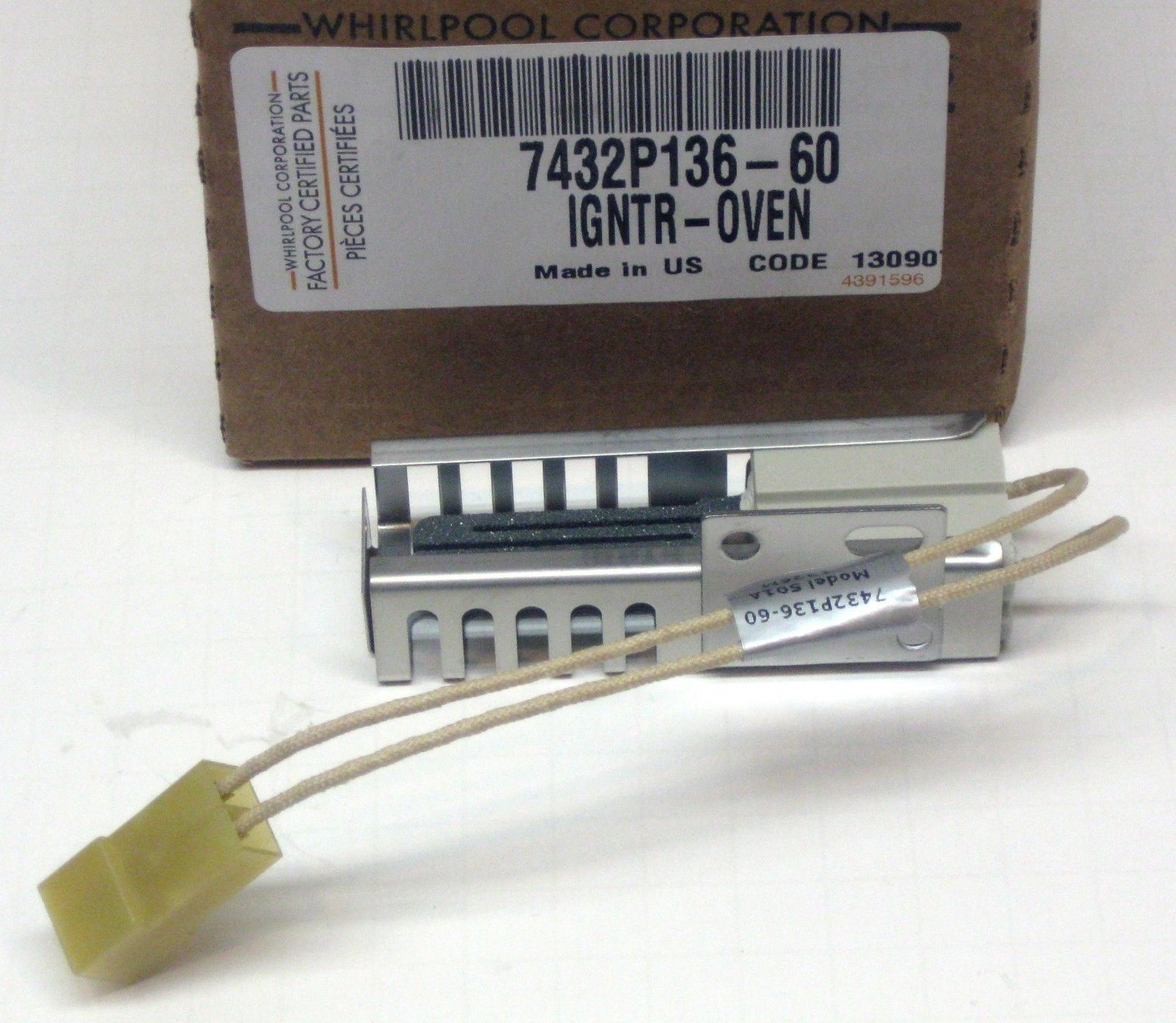 7432p136 60 Whirlpool Gas Range Oven Igniter For Maytag