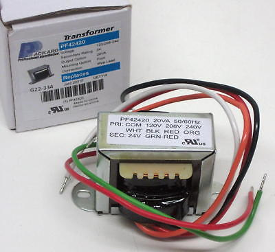 pf42420 transformer 120/208/240v primary 24v sec 20 va hvac 24 volt transformer wiring diagram