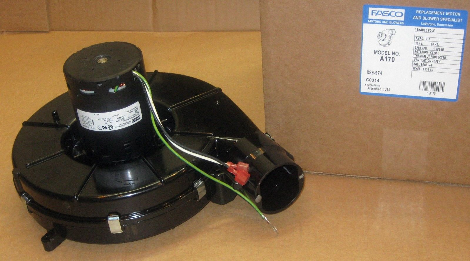 a170 fasco draft inducer motor fits icp 7021 10702 7021