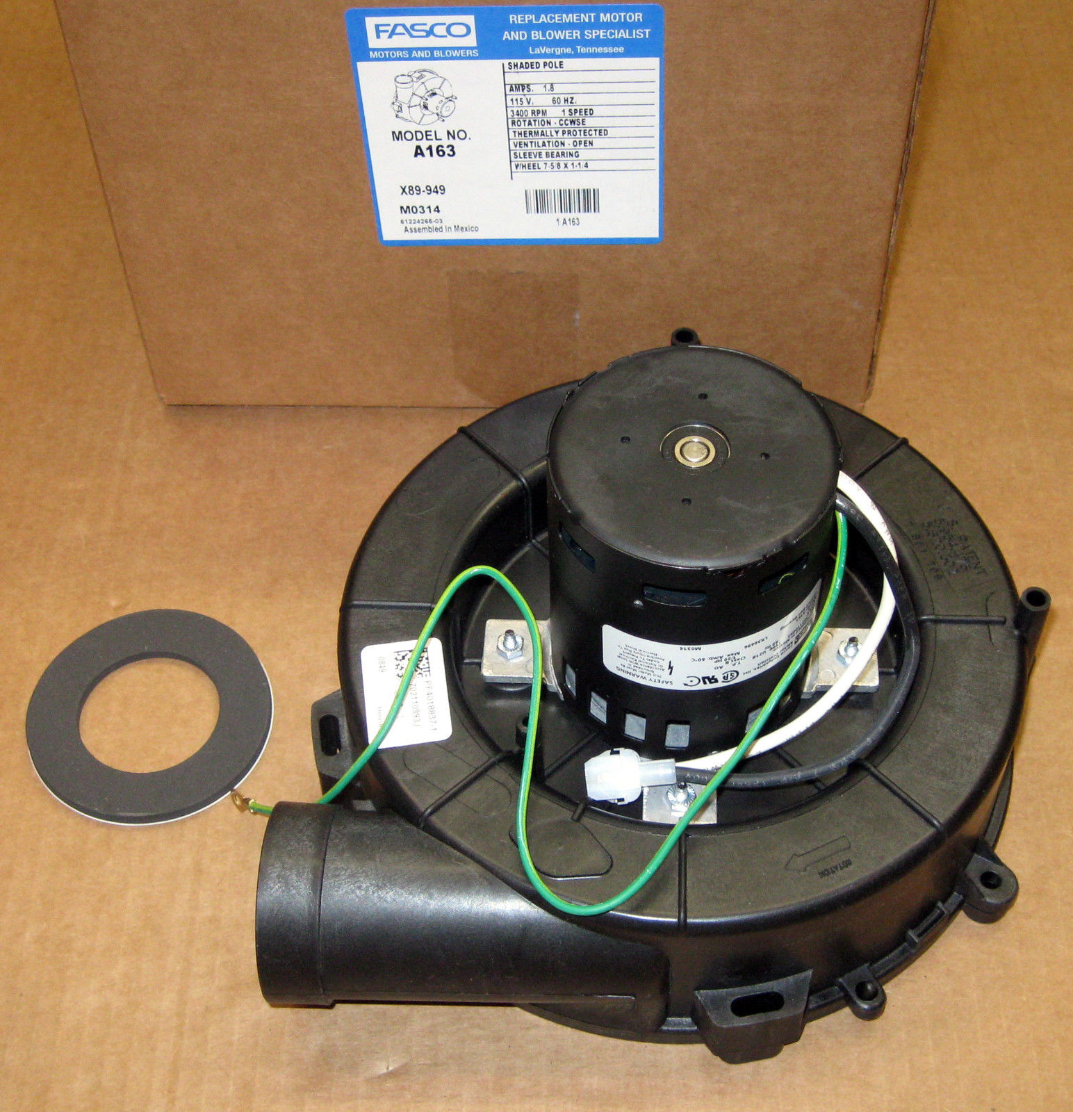 A163 Fasco Furnace Inducer Blower Motor Fits Lennox 7021