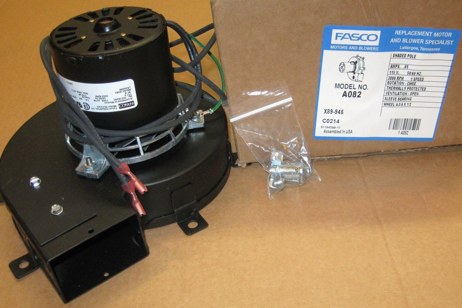 A082 fasco centrifugal blower motor 75 cfm 115 volts for Fasco motors and blowers