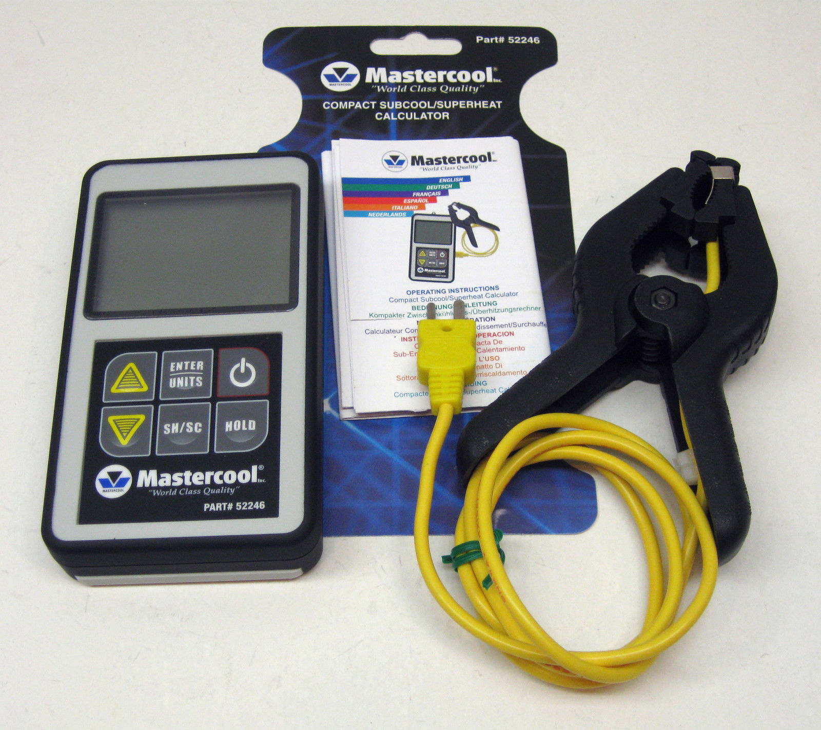 Yellow jacket superheat/subcool calculator w/ thermometer & p/t.