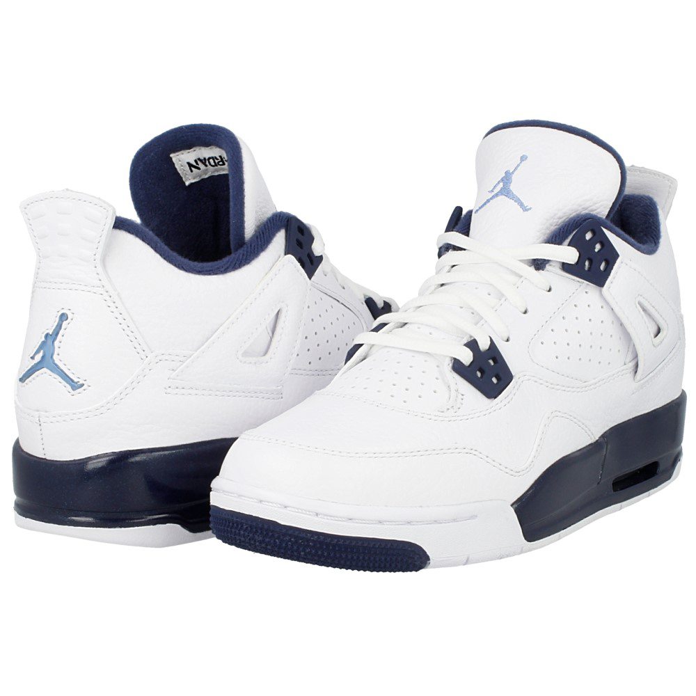e9f2ad3895f836 Nike Jordan Kids Air Jordan 4 Retro Bg White Legend Blue Navy 408452 ...