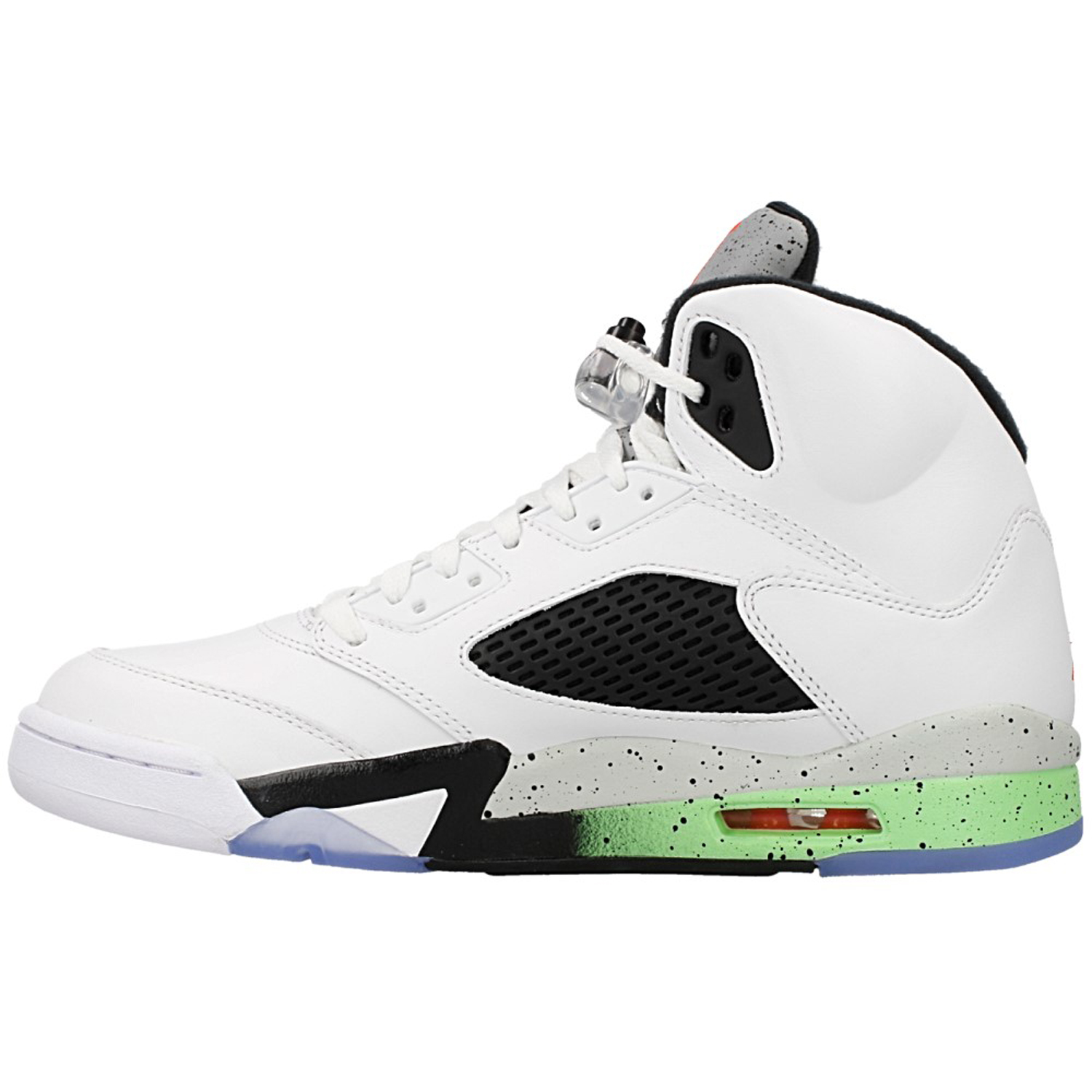 a6b8a36d7f05 Nike Air Jordan 5 Retro 136027-115 The Air Jordan Retro 5 Mens Lifestyle  Shoe features a white-based leather upper with Black detailing a  cemented speckled ...