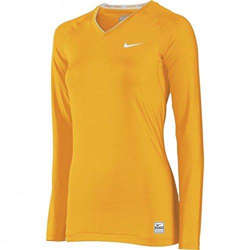 6295b6df8 The Nike Women's Pro Core Tight Compression Long Sleeve V-Neck Top has a  comfortable and athletic compression fit with a v-neck and long sleeves.