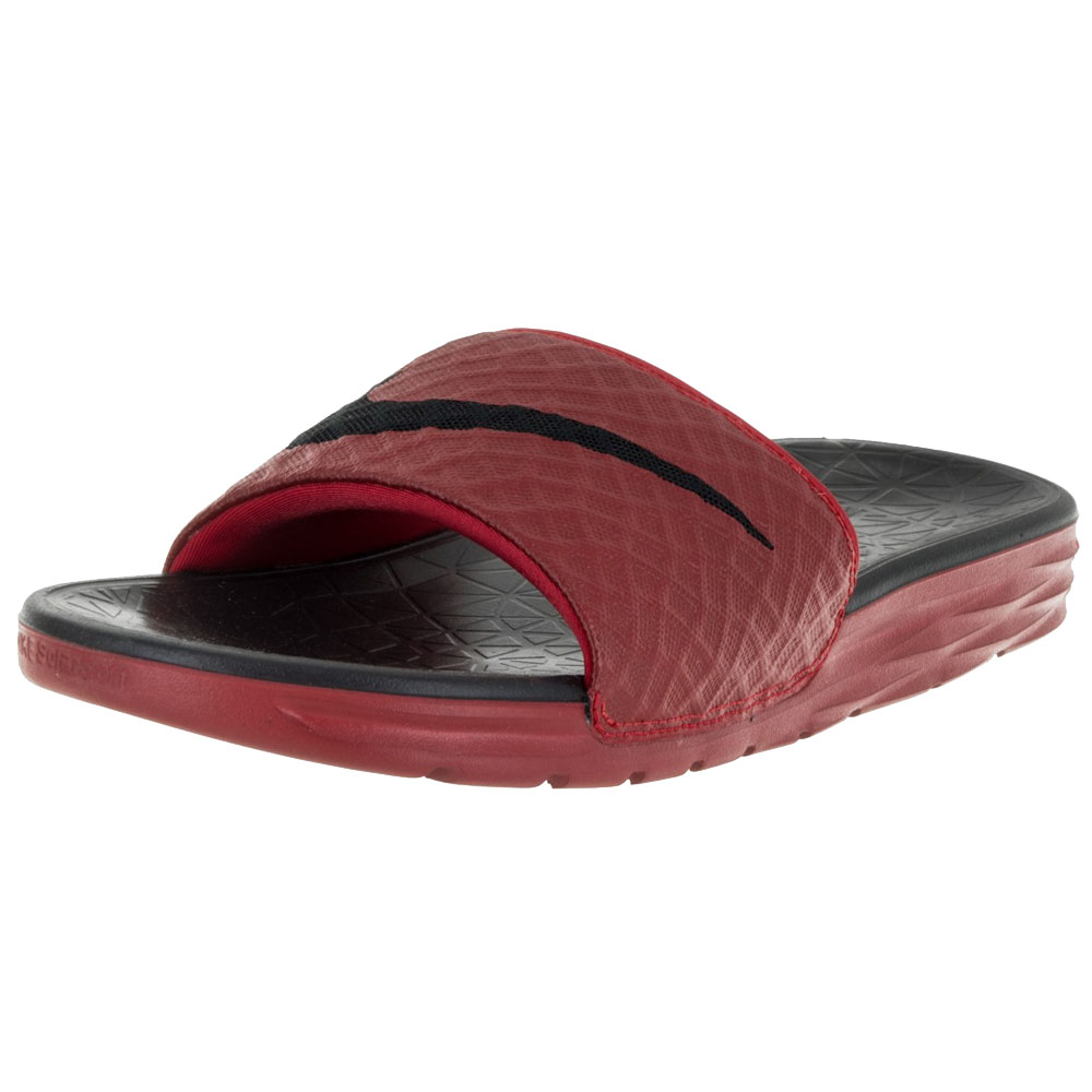 d3b7f68e53a590 New Nike Men s Benassi Solarsoft Slide University Red Black