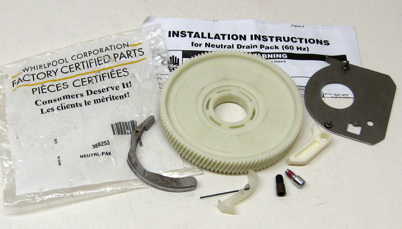 Whirlpool Washer Neutral Drain Kit With Gear Wp388253