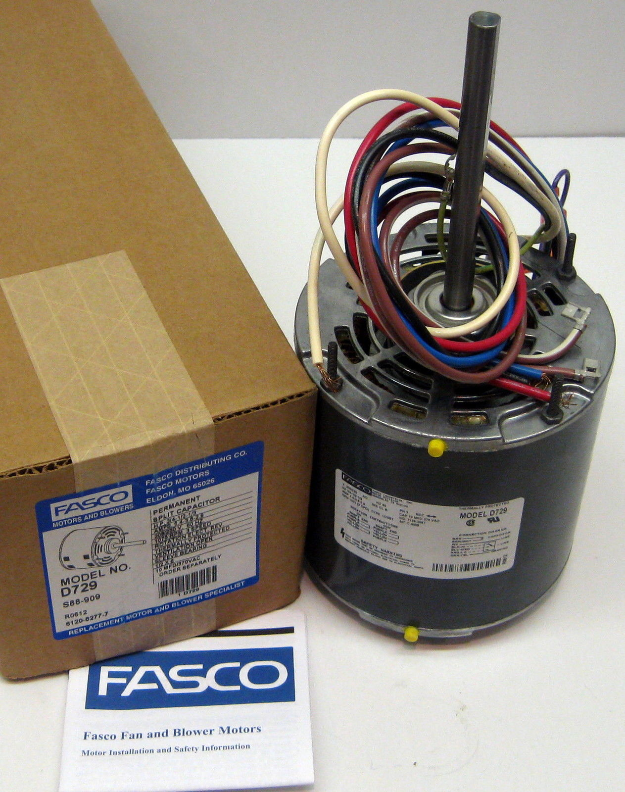D729-10 Fasco 3/4 HP 1075 rpm 208-230 v 3 Speed Furnace ...