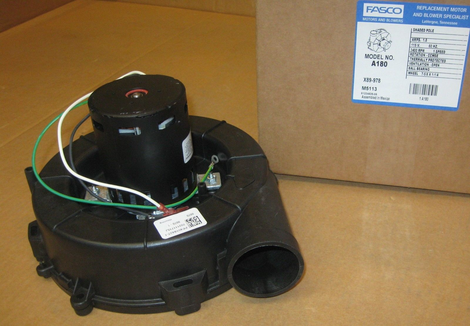 A180 Fasco Draft Inducer Furnace Blower Motor For Goodman