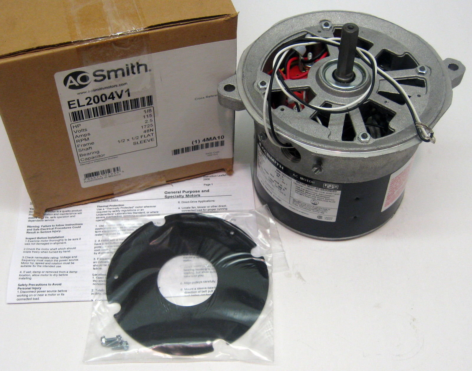 El2004v1 Ao Smith Oil Burner Furnace Motor 1 8 Hp 1725 Rpm