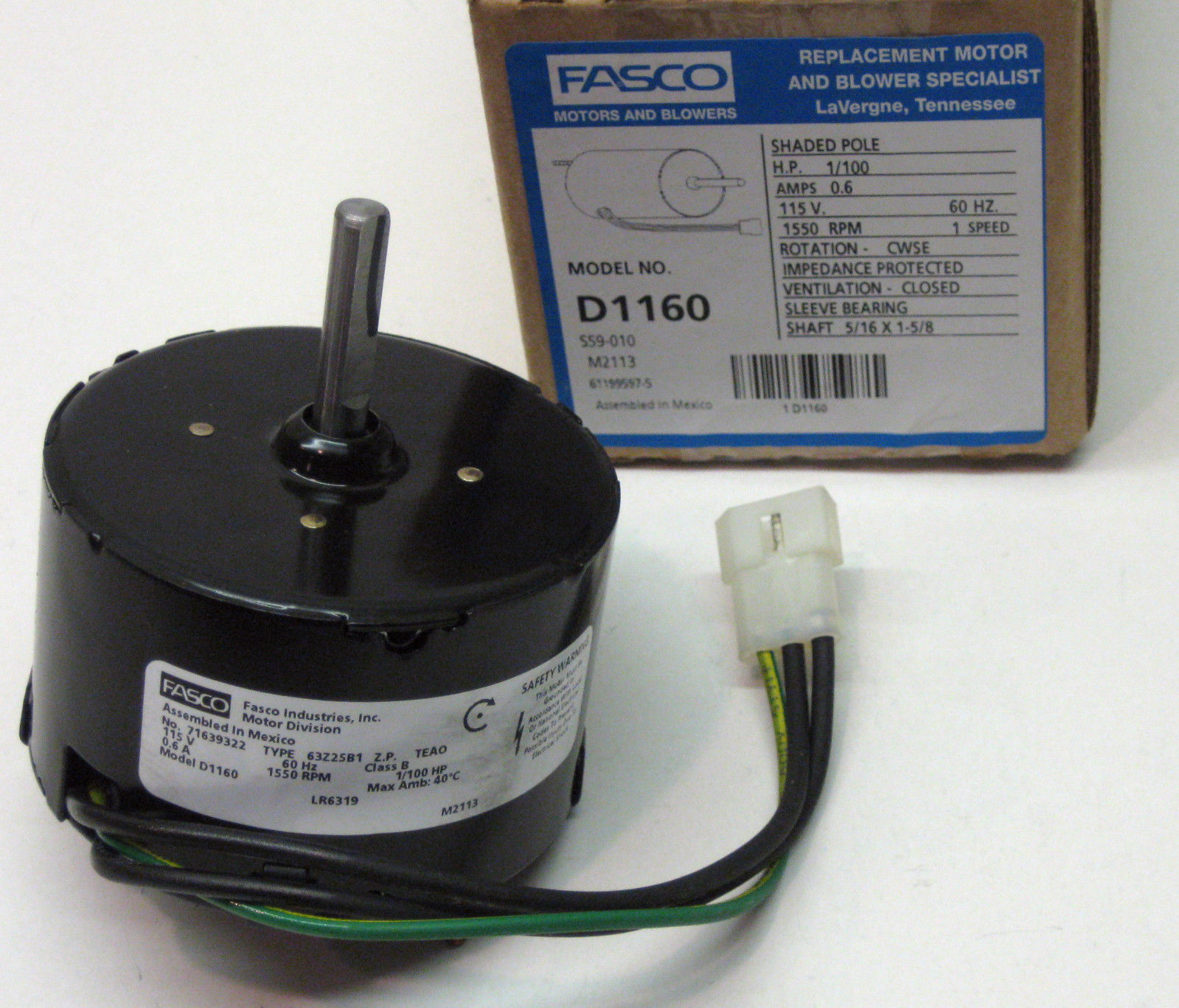 D1160 Fasco Bathroom Fan Vent Motor For 7163 2593 655 661