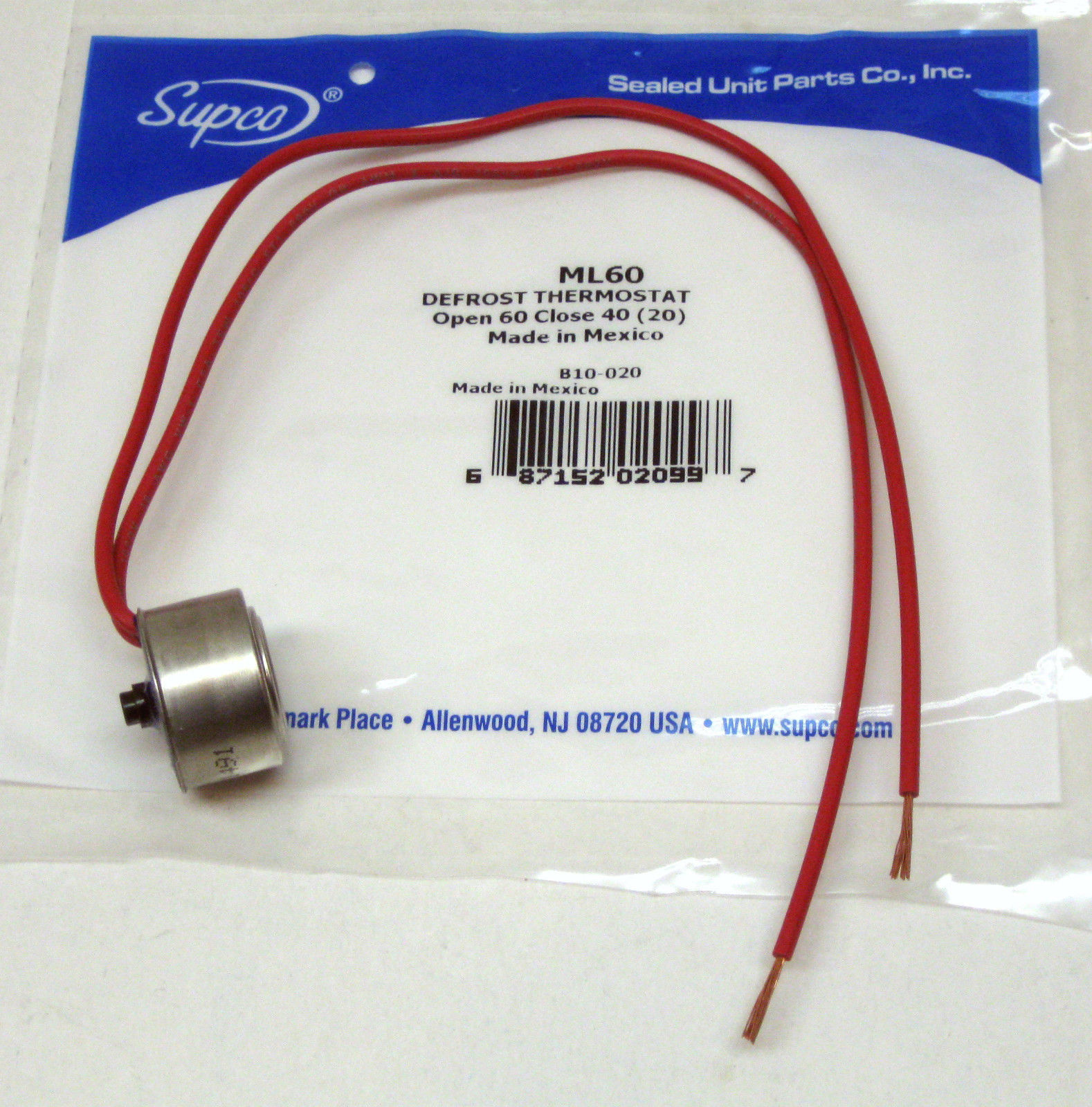 Ml60 Supco Refrigerator Defrost Thermostat L 60 Degree For