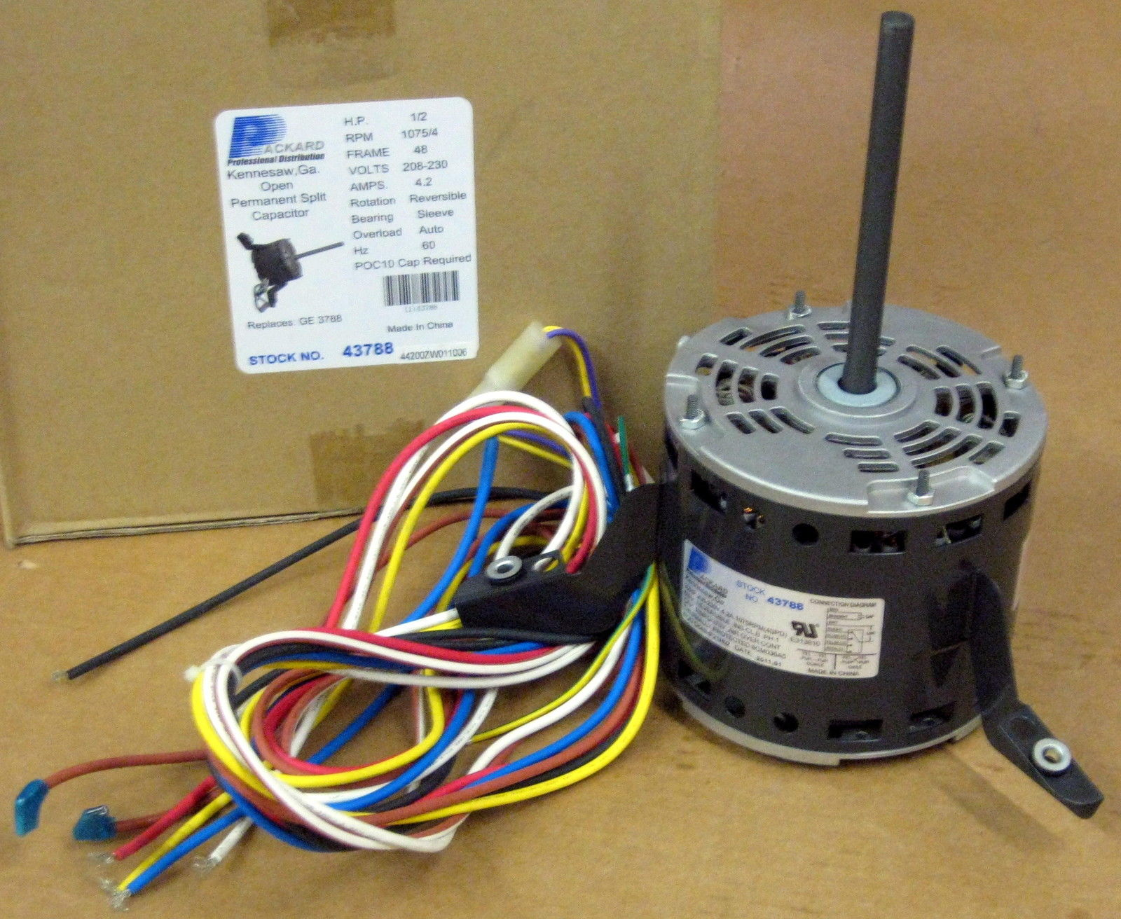 Details about 3788 A/C Blower Motor 1/2 HP 230 V 1075 RPM for Goodman on