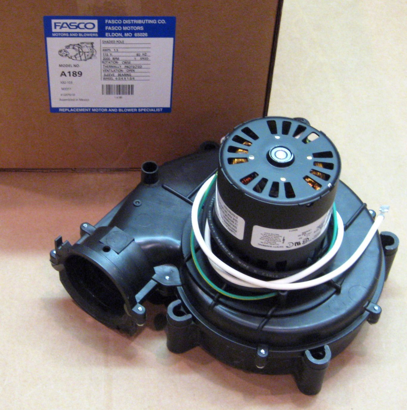 A189 fasco inducer furnace blower motor for goodman 7021 for Goodman furnace inducer motor replacement
