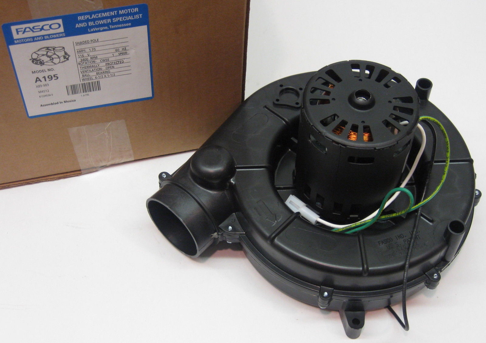 A195 fasco furnace draft inducer blower motor fits trane for Trane blower motor replacement