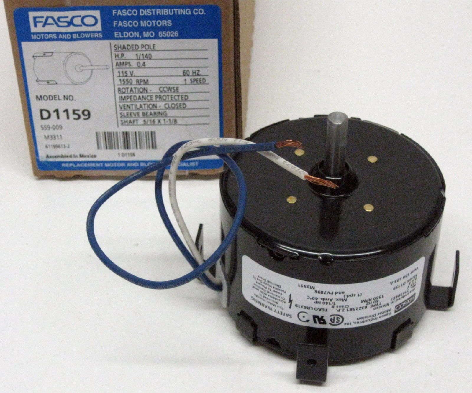 D1159 Fasco Bathroom Fan Vent Motor for 7163-1845 656 293A PV7896 | eBay