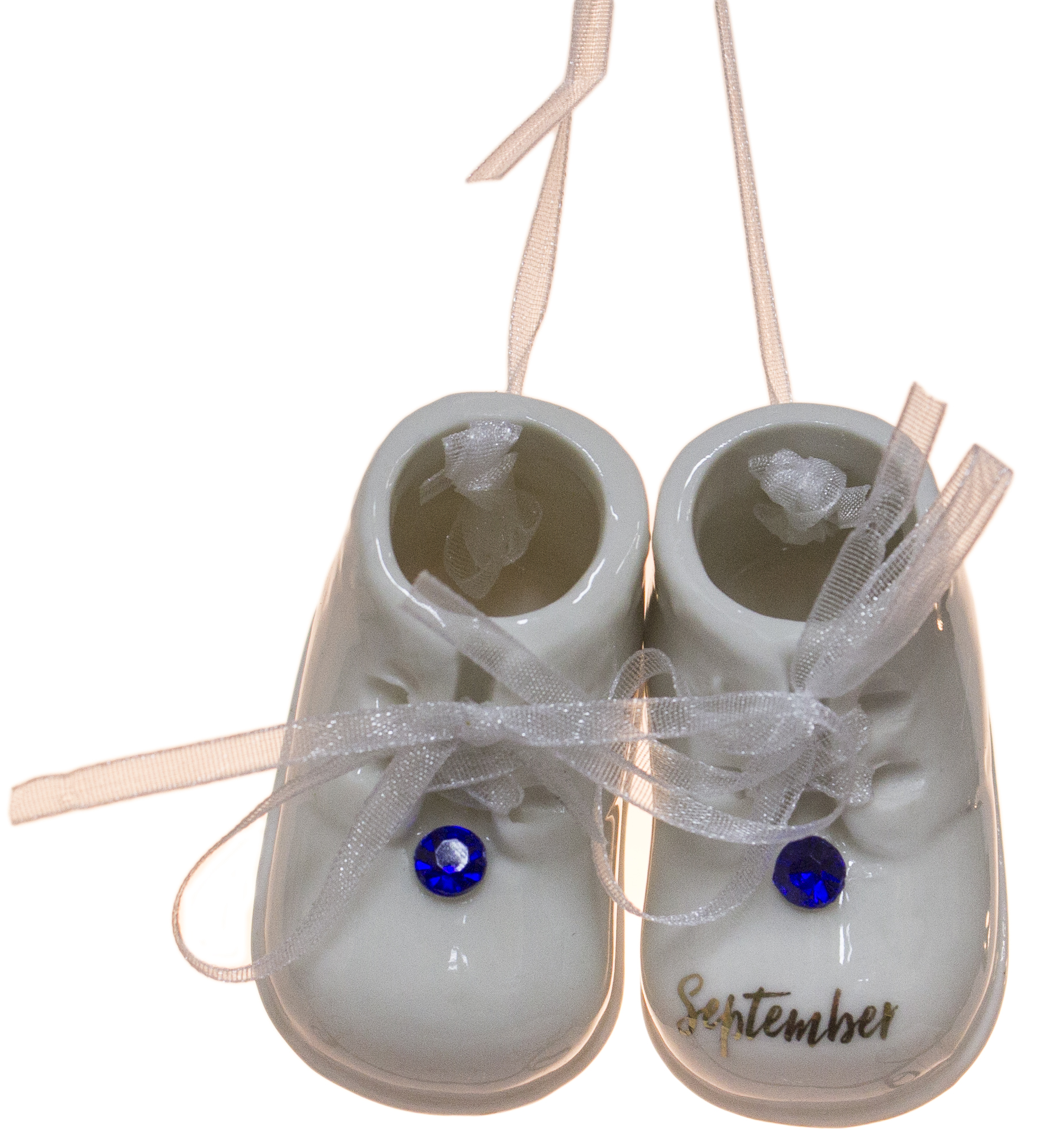 September Birthstone Baby Booties Porcelain Ornament