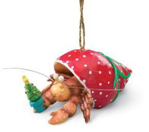 Pet Hermit Crab in Holiday Red Shell Christmas Tree Ornament - Pet Hermit Crab In Holiday Red Shell Christmas Tree Ornament