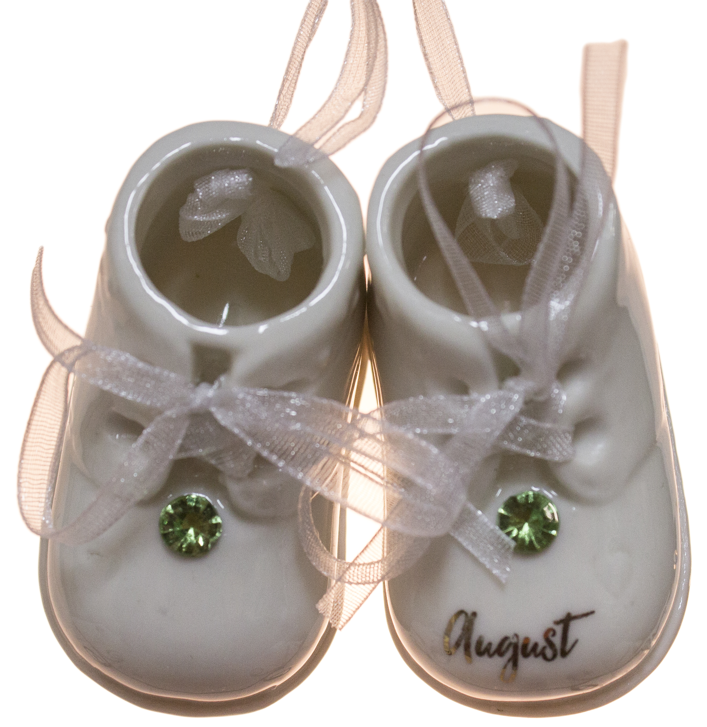 August Birthstone Baby Booties Porcelain Ornament