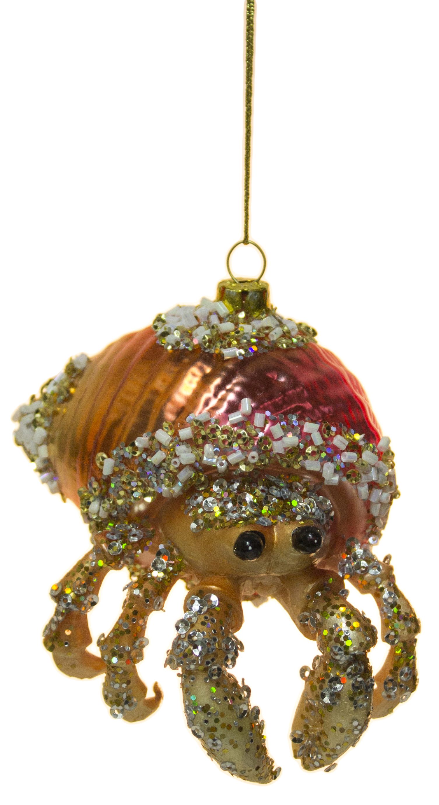 "4"" Bedazzled Hermit Crab Blown Glass Christmas Ornament ..."