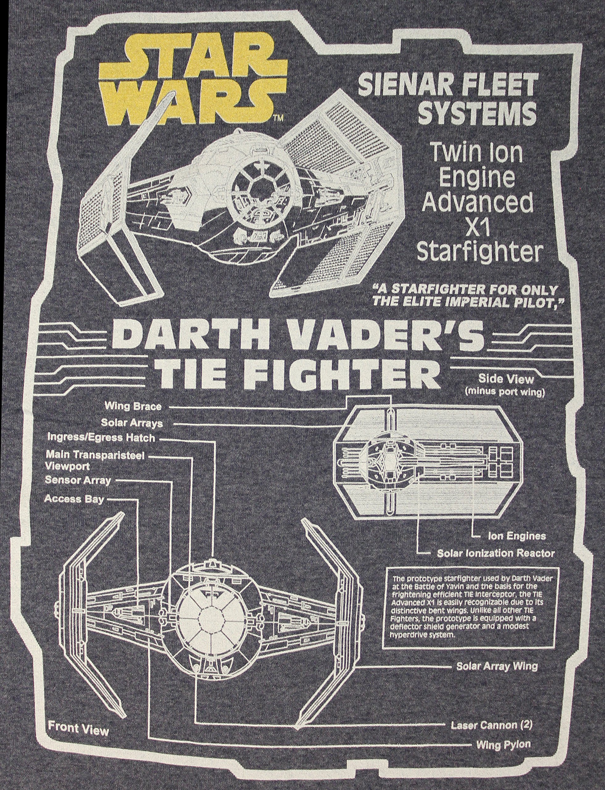 Men's Disney Star Wars Schematics Darth Vader's Tie Fighter T-Shirt on batman schematics, tron schematics, wall-e schematics, terminator schematics, kamen rider schematics, robotech schematics, prometheus schematics, a wing fighter schematics, pneumatic schematics, macross schematics, stargate schematics, star destroyer, pacific rim schematics,