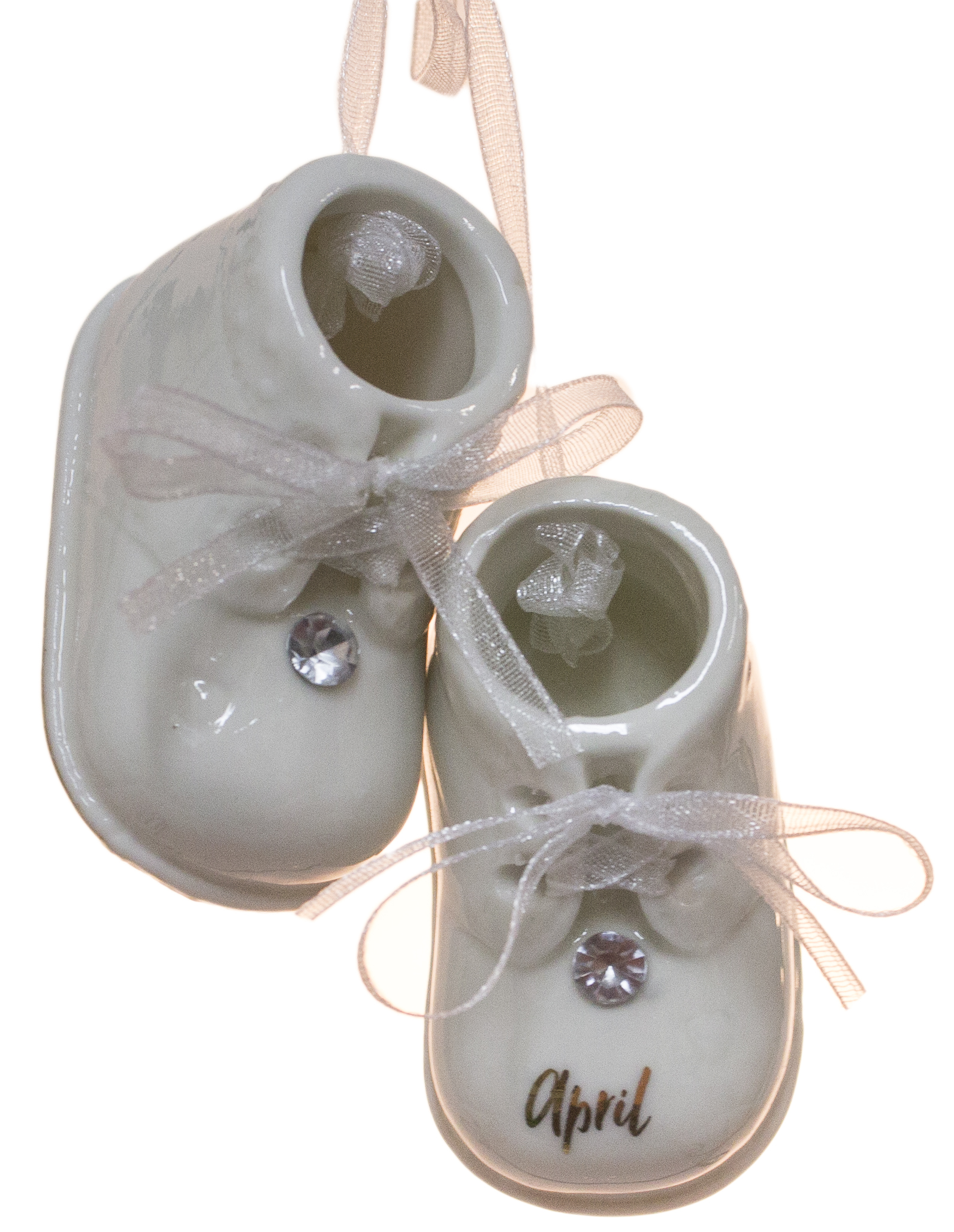 April Birthstone Baby Booties Porcelain Ornament