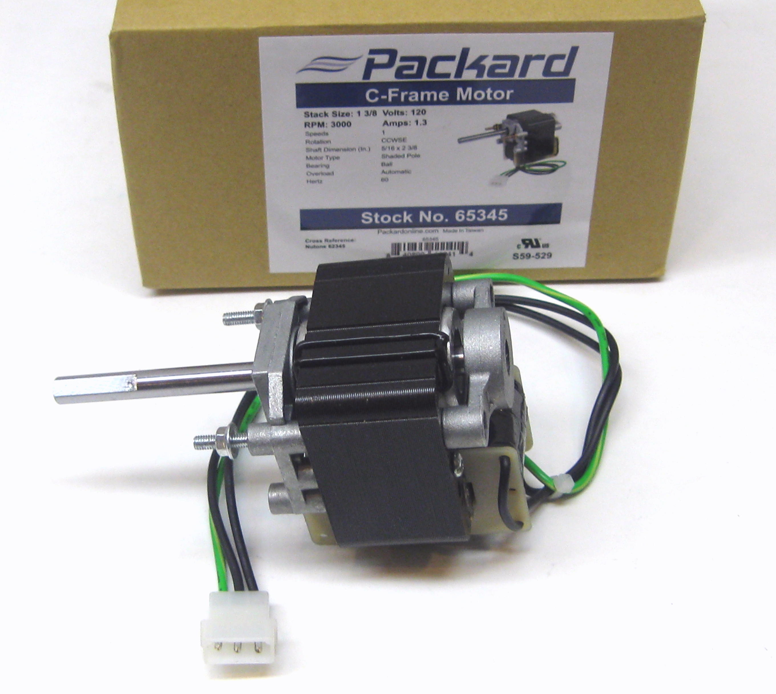 Packard 65345 motor for nutone vent bathroom exhaust fan for Nutone bathroom fan motor