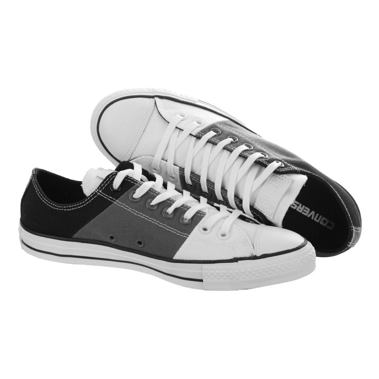 4819d793209 Converse Men s Chuck Taylor All Star Panel Ox White Charcoal Black Sneaker