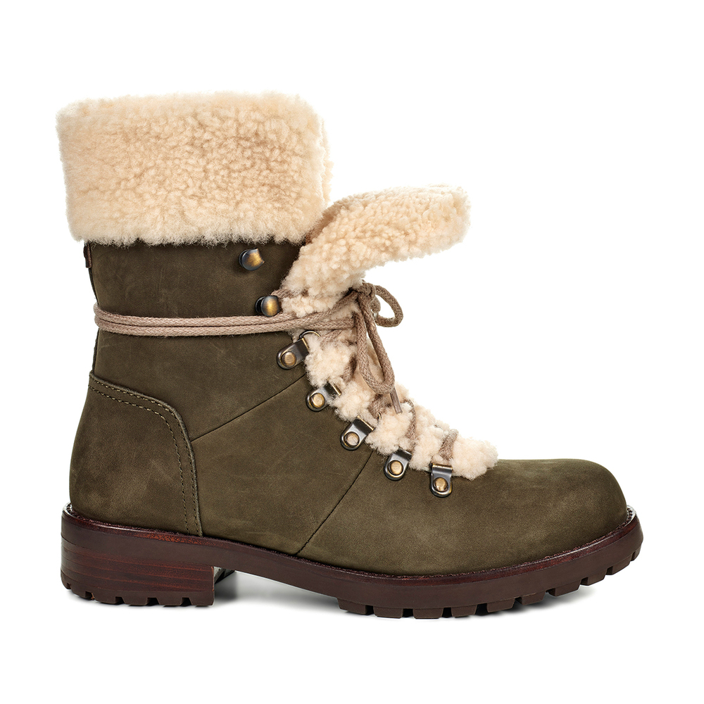 35727e0f857 Details about UGG AUSTRALIA UGGS WOMENS SLATE GRAY FRASER SHERPA LINNED  LACE UP WINTER BOOTS