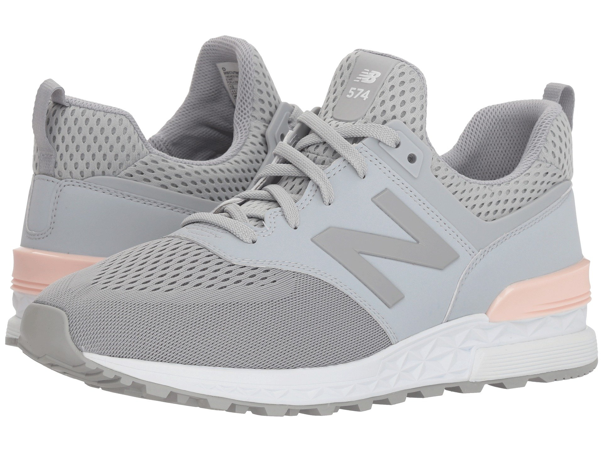 reputable site 58e07 31ad4 Details about New Balance Men's Fashion Sneakers 574 Sport Silver Mink  Sunrise Glo MS574TMG