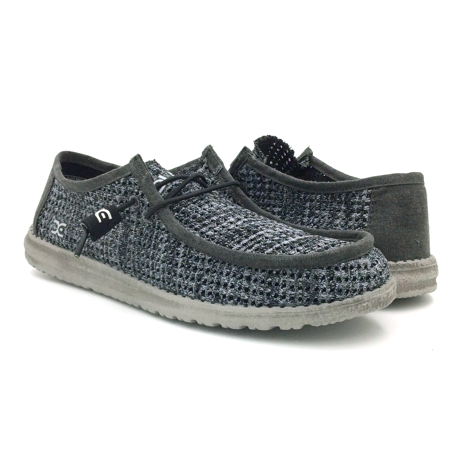 Details about Hey Dude Men s Wally Sox Perforated Black Grey 00329b557d7c