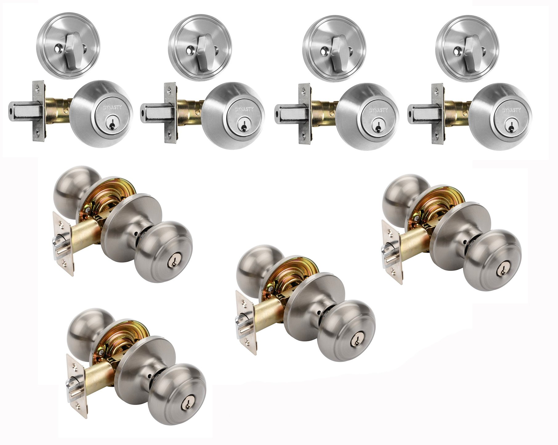 Sierra Entry Door Knob Lockset U0026 Deadbolt, Satin Nickel (4 Pack) Keyed Alike