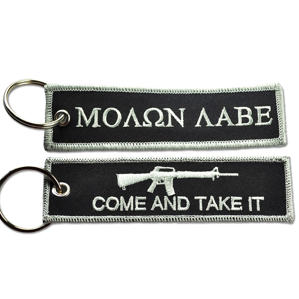 4607612bb1f8 Details about TACTICAL EMBROIDERED KEY CHAIN KEY TAG - MOLON LABE TAKE IT  BLACK AND SILVER