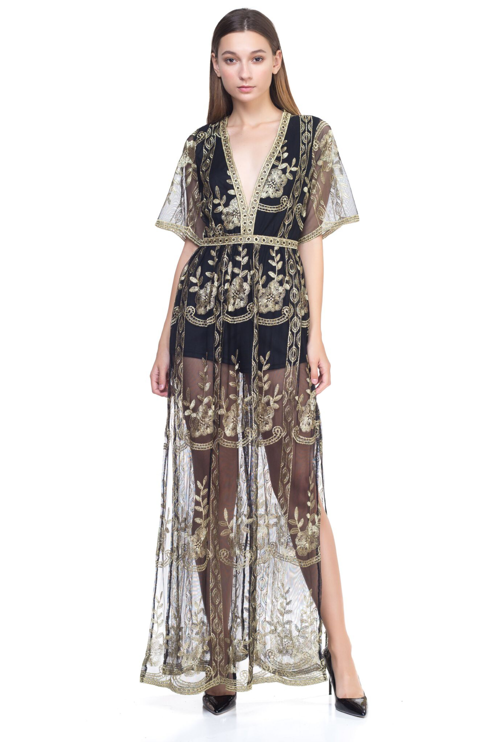 Details About Ofashionusa Womens Floral Embroidered Lace Maxi Dress