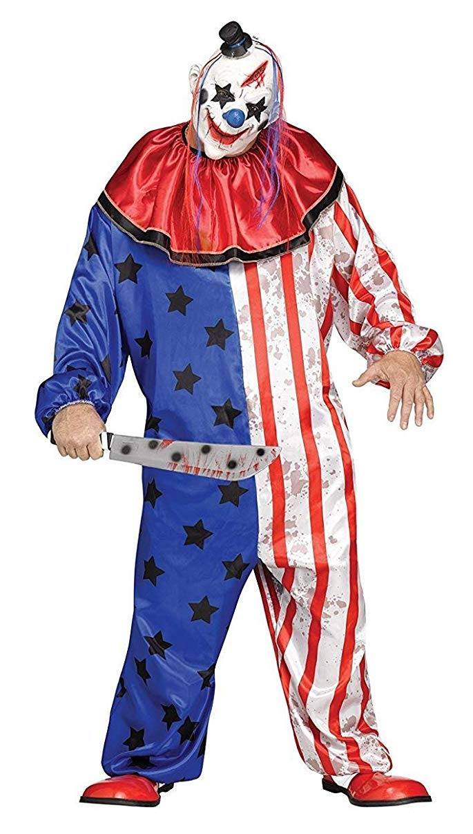 fun world evil clown mask adult mens halloween costume plus size